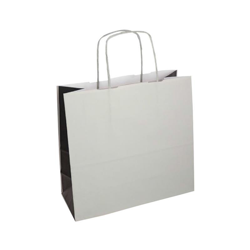 shopper bicolore carta kraft grigio/nero manico cordino