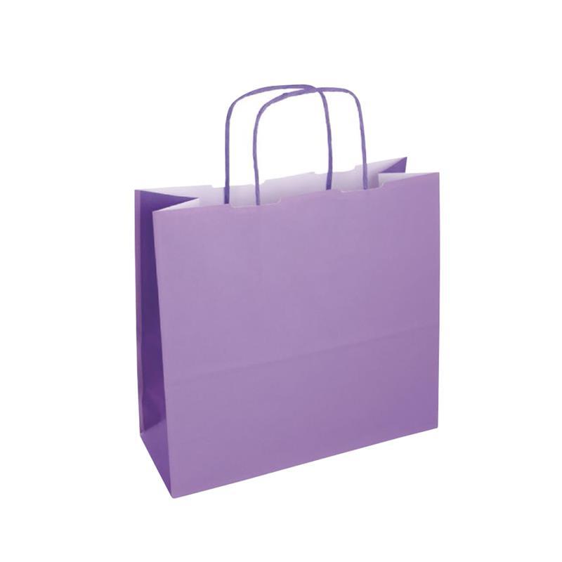 shopper bicolore carta kraft lilla/viola manico cordino