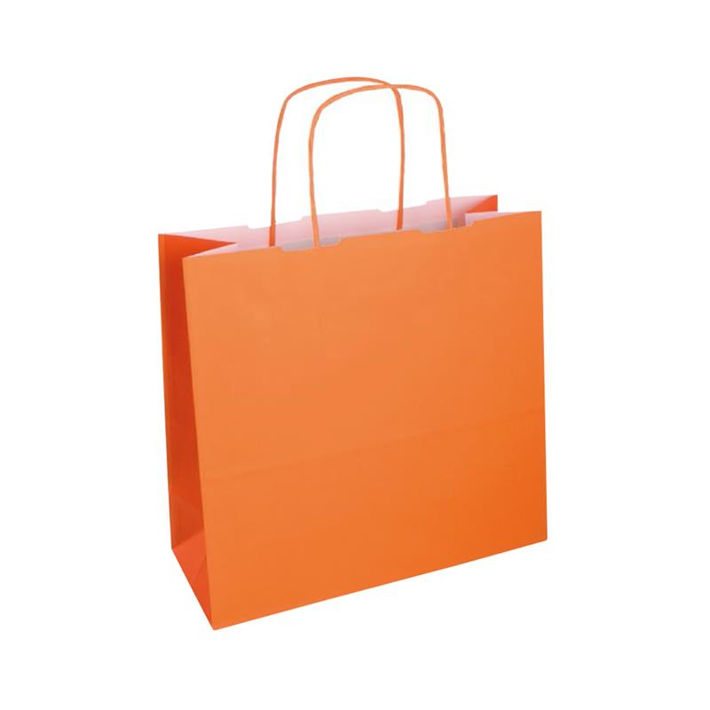 shopper bicolore carta kraft arancio chiaro/arancio manico cordino