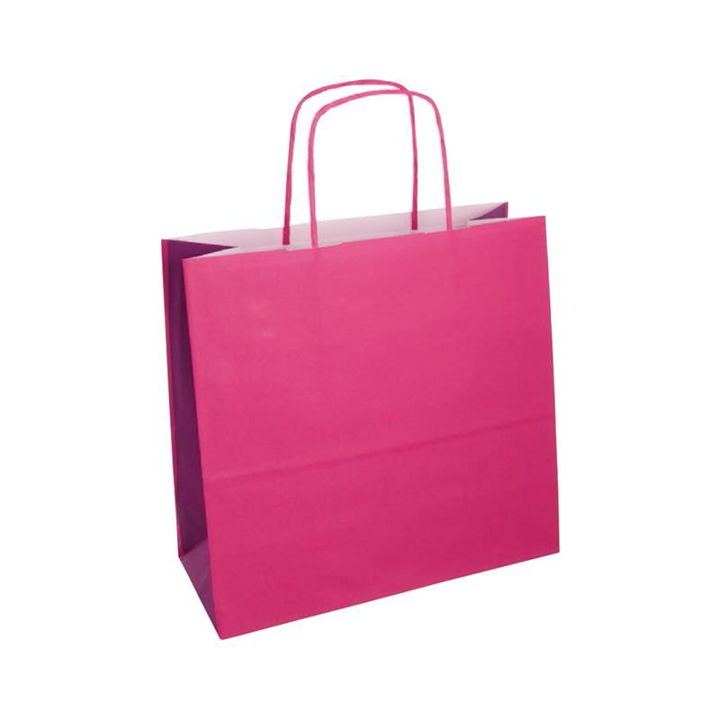 shopper bicolore carta kraft rosa/viola manico cordino