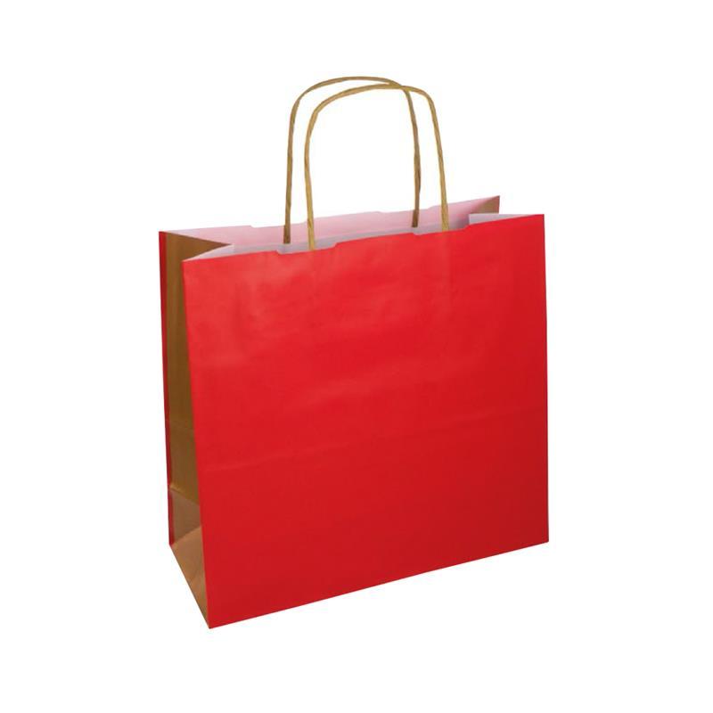 shopper bicolore carta kraft rosso/oro manico cordino