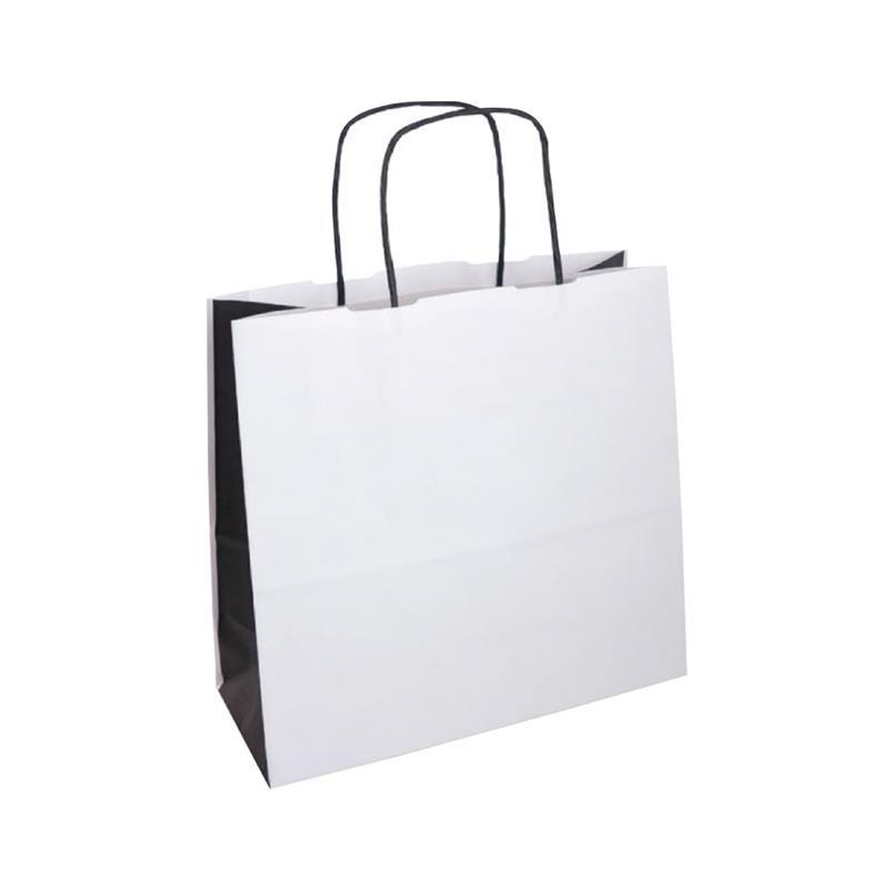 shopper bicolore carta kraft bianco e nero manico cordino nero