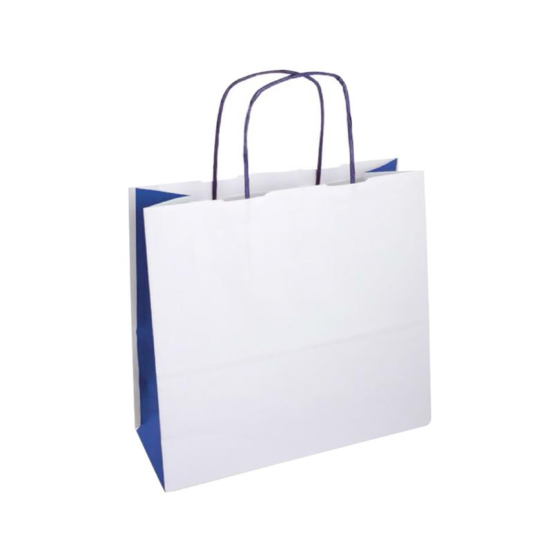 shopper bicolore carta kraft bianco e blu manico cordino blu