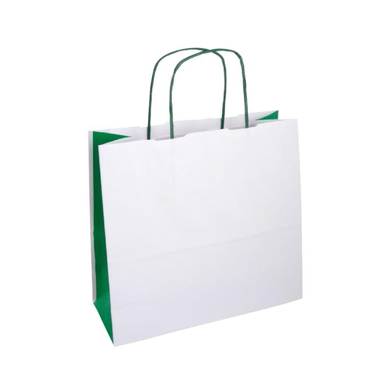 shopper bicolore carta kraft bianco e verde manico cordino verde