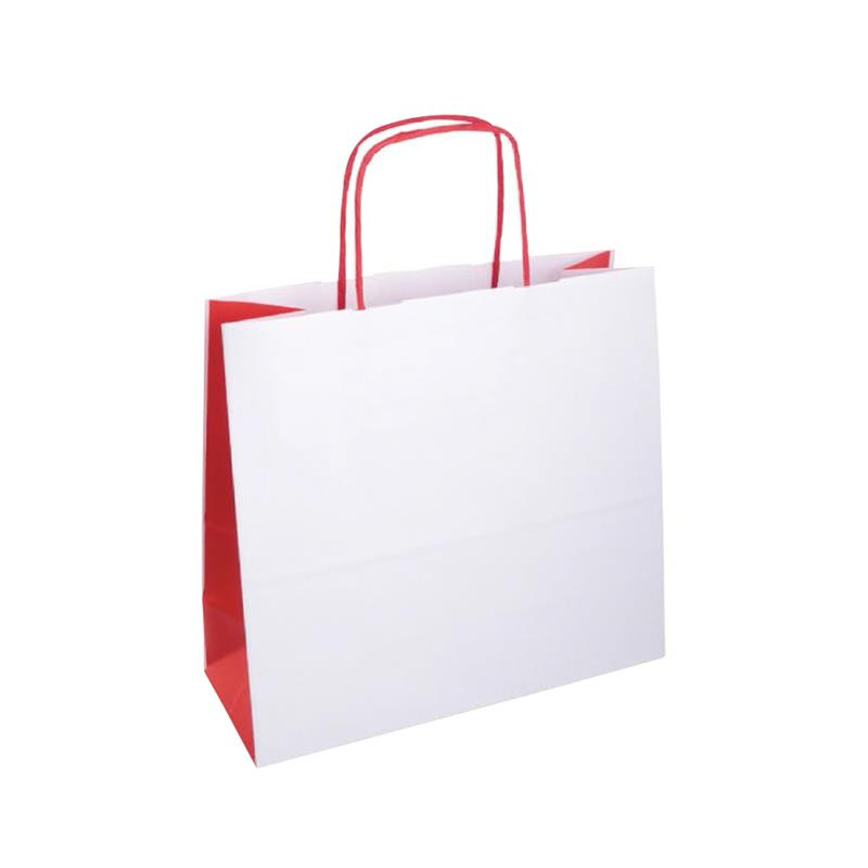 shopper bicolore carta kraft bianco e rosso manico cordino rosso