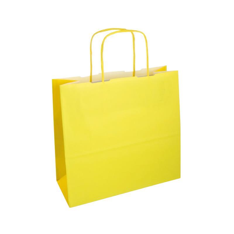 shopper bicolore carta kraft giallo chiaro/giallo manico cordino