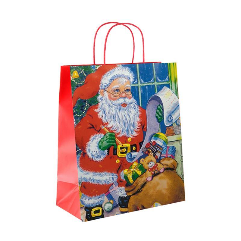 shopper in carta patinata babbo natale porta dona manico rosso
