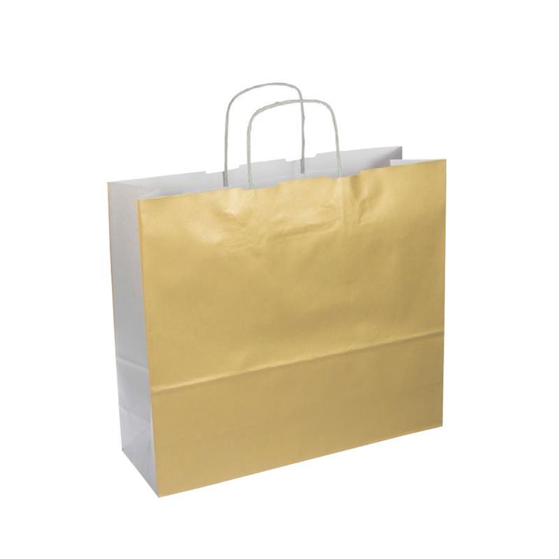 shopper bicolore carta kraft oro/argento manico cordino