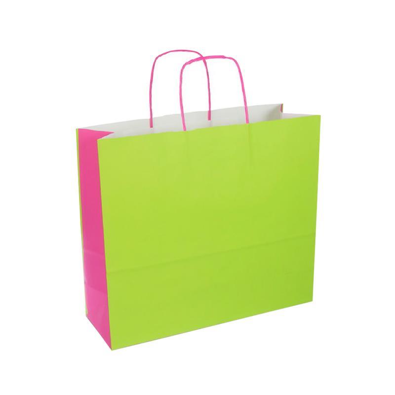 shopper bicolore carta kraft verde/fuxia manico cordino