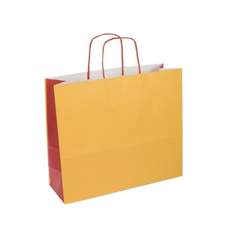 shopper bicolore carta kraft ocra/bordeaux manico cordino