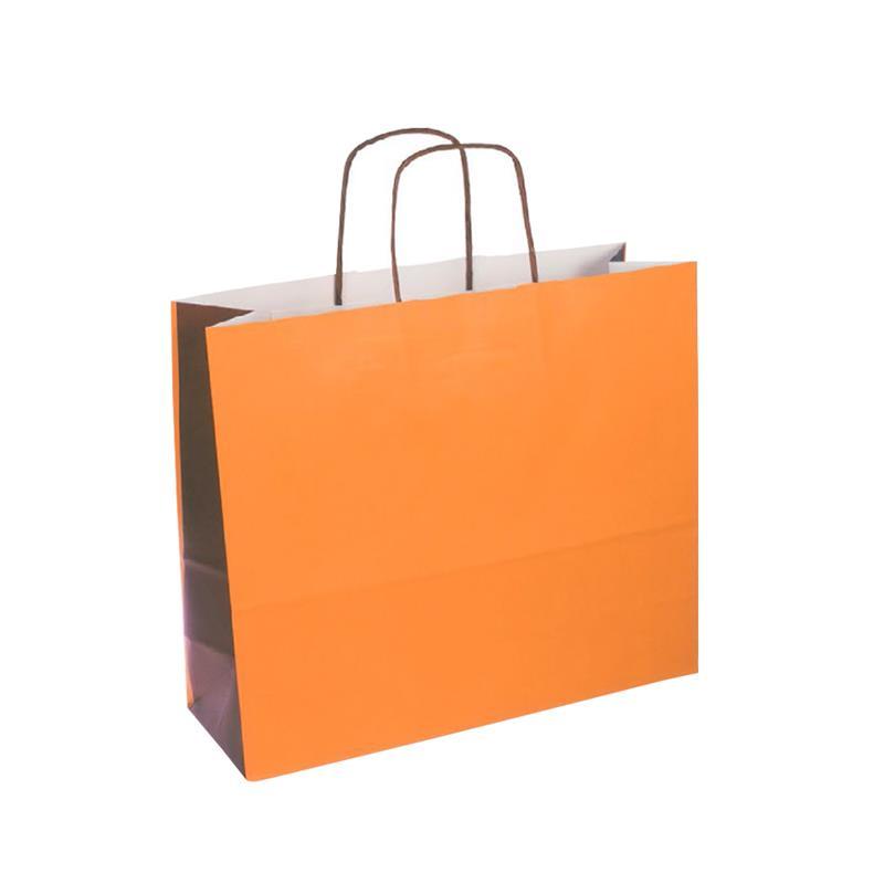 shopper bicolore carta kraft arancio/marrone manico cordino