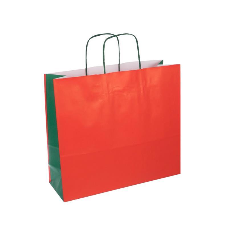 shopper bicolore carta kraft rosso/verde manico cordino