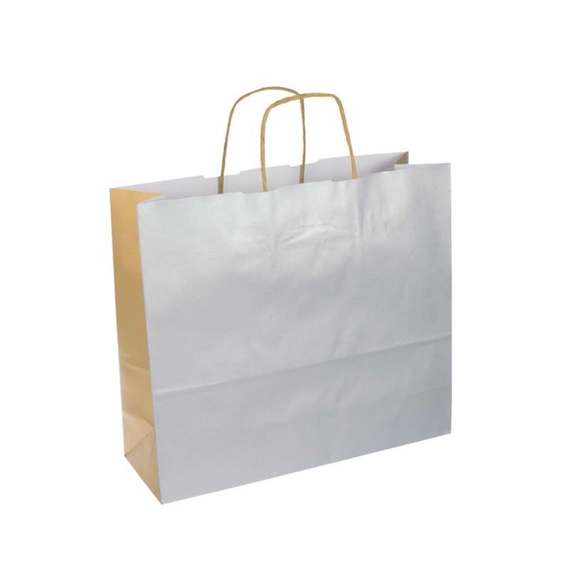 shopper bicolore carta kraft argento/oro manico cordino