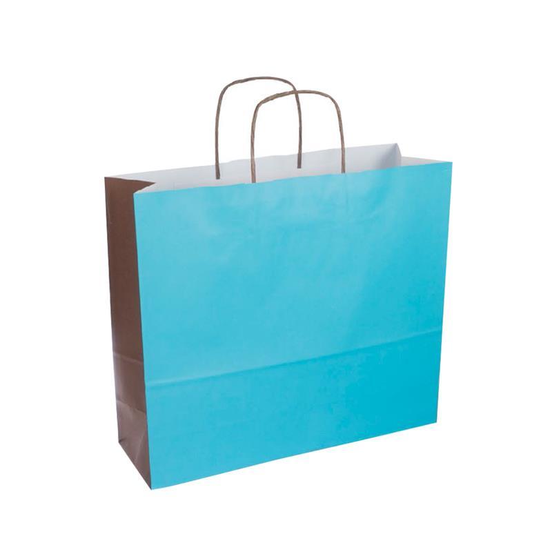 shopper bicolore carta kraft turchese/marrone manico cordino