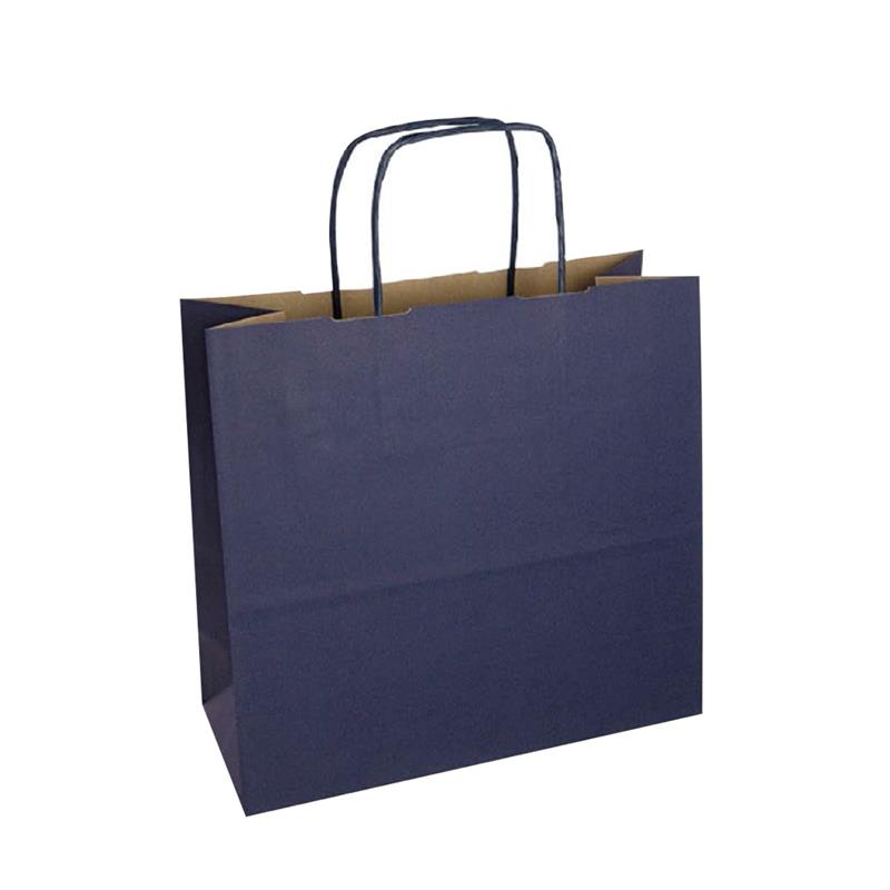 shopper in carta duplex blu-avana con manico cordino in tinta