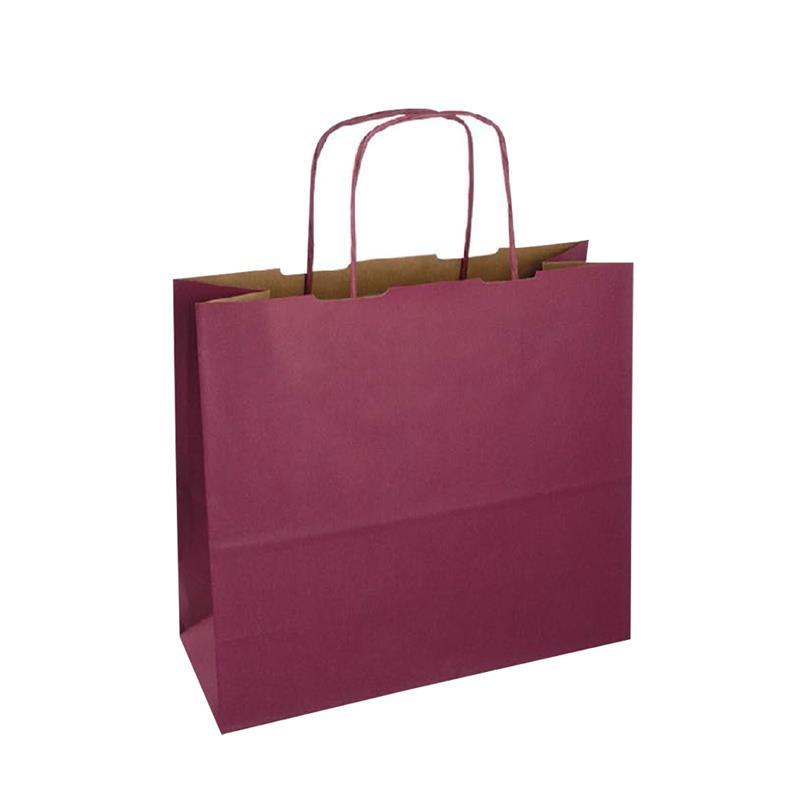 shopper in carta duplex bordeaux-avana con manico cordino in tinta