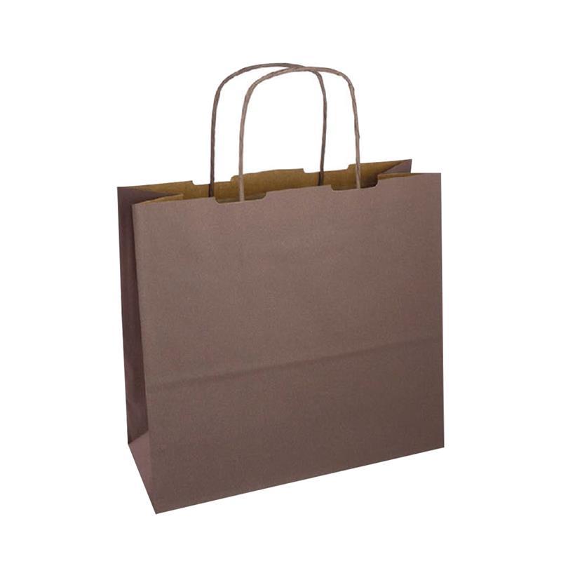 shopper in carta duplex marrone-avana con manico cordino in tinta