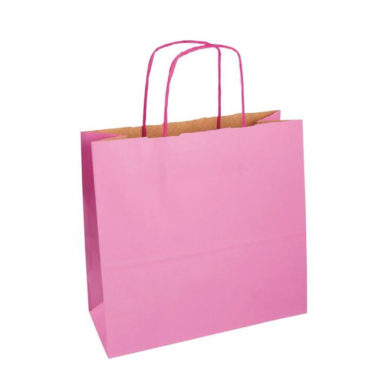 shopper in carta duplex rosa-avana con manico cordino in tinta
