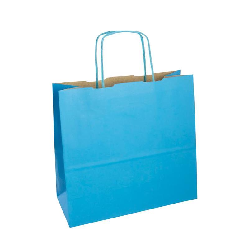 shopper in carta duplex turchese-avana con manico cordino in tinta