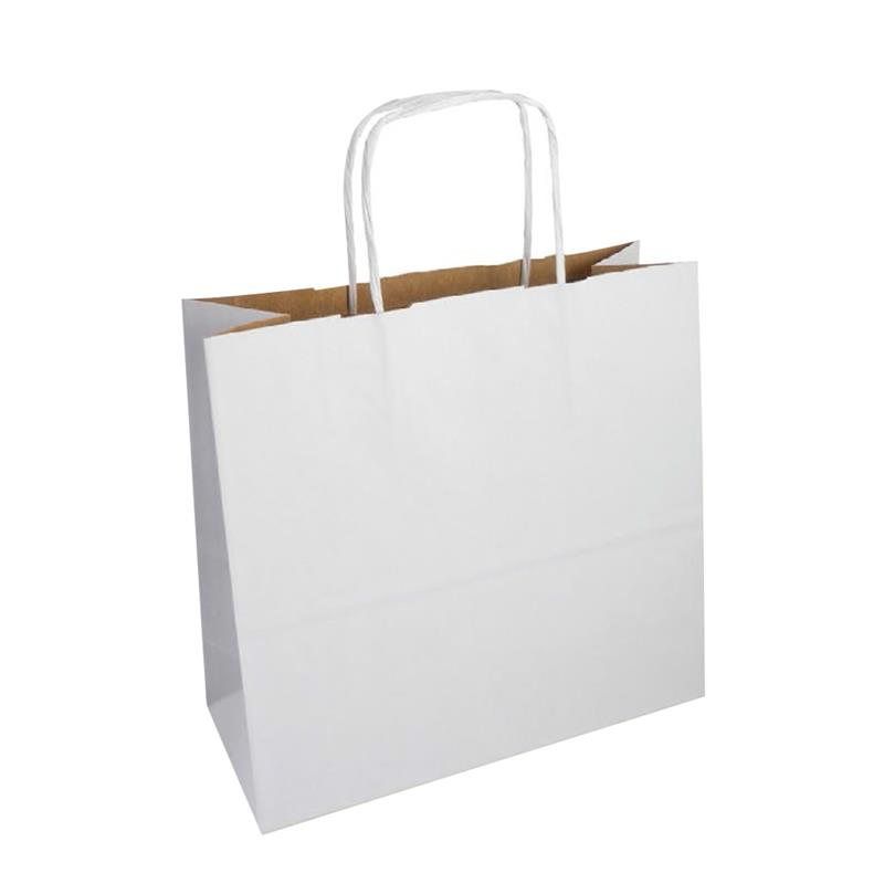 shopper in carta duplex bianca-avana con manico cordino in tinta
