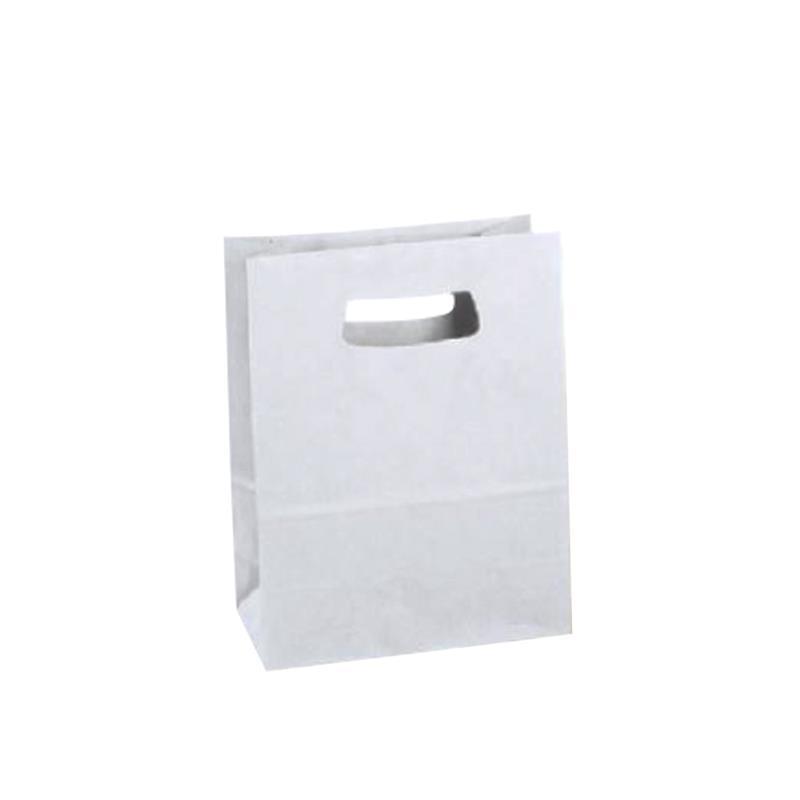 shopper in carta kraft bianca con manico fustellato