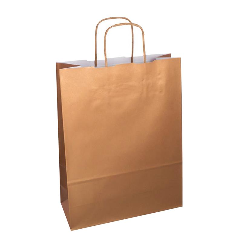 shopper in carta kraft con stampa bronzo metal manico cordino in tinta