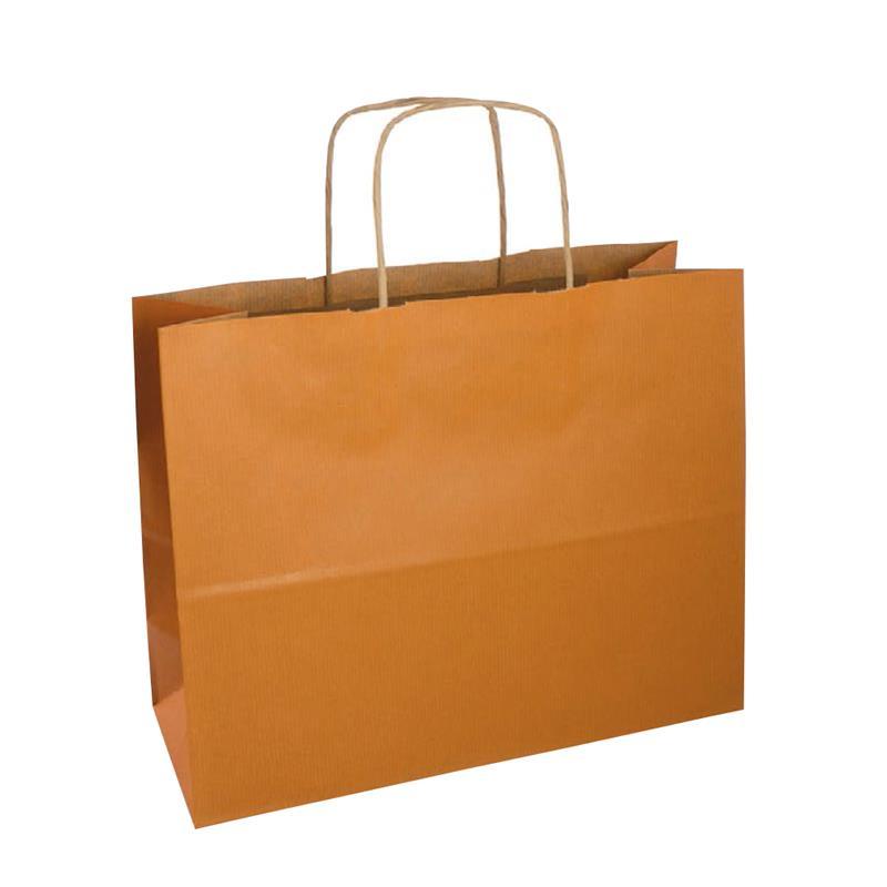 shopper sealing avana stampa albicocca manici carta ritorta