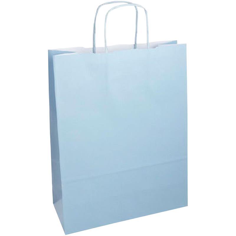 shopper in carta kraft azzurra manico cordino