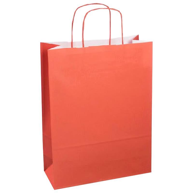 shopper in carta kraft corallo manico cordino