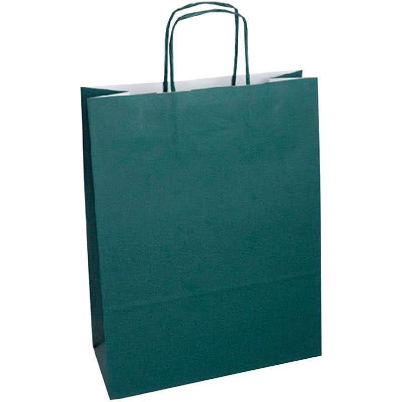 shopper in carta kraft verde bosco manico cordino