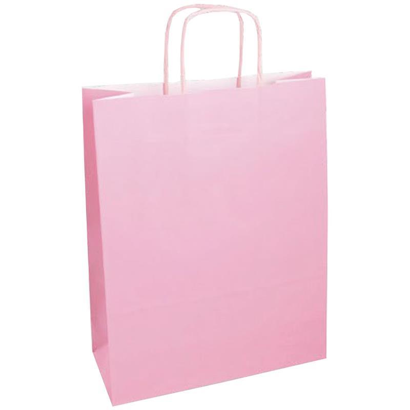 shopper in carta kraft rosa manico cordino