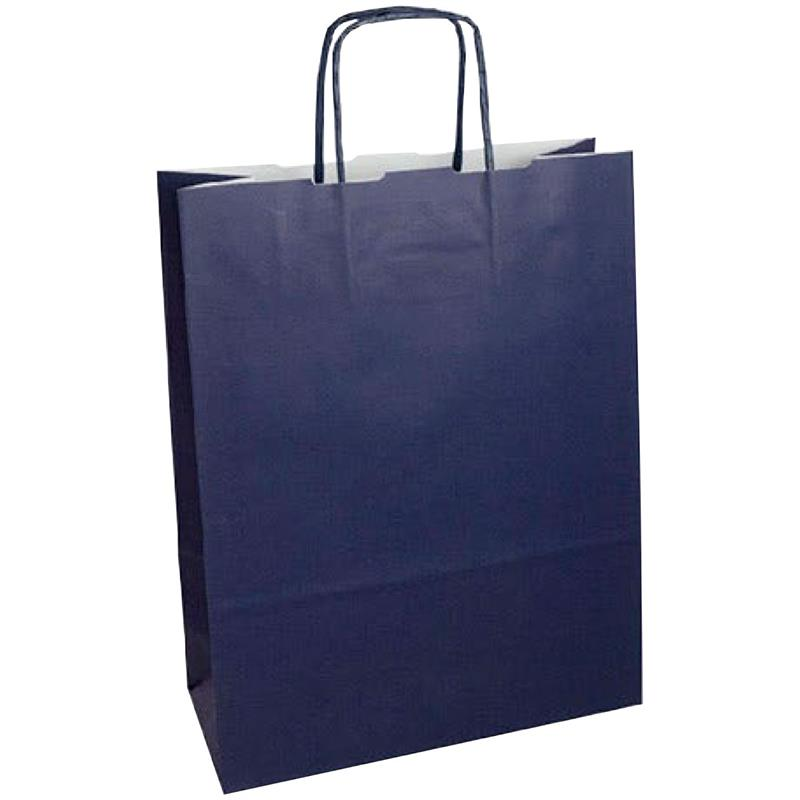 shopper in carta kraft blu notte manico cordino