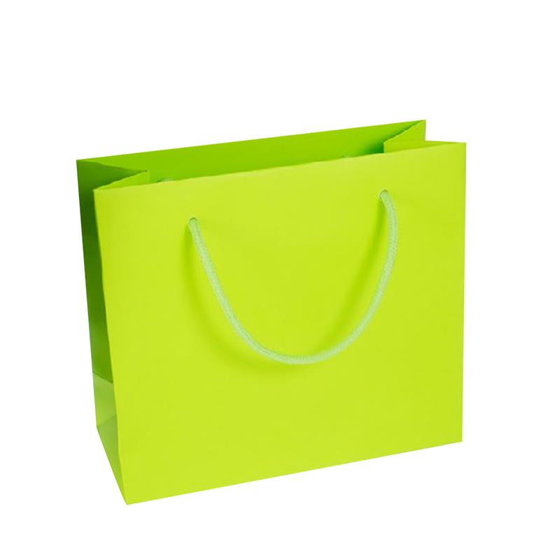 shopper in carta kraft stampa verde manico cotone in tinta