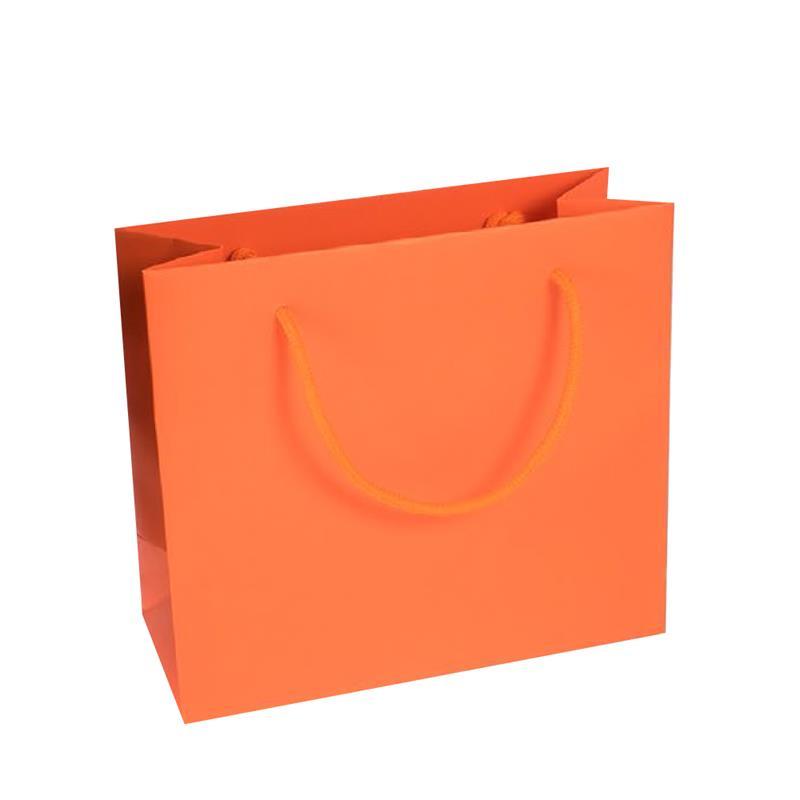 shopper in carta kraft stampa arancio manico cotone in tinta