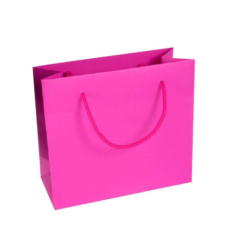 shopper in carta kraft stampa fuxia manico cotone in tinta