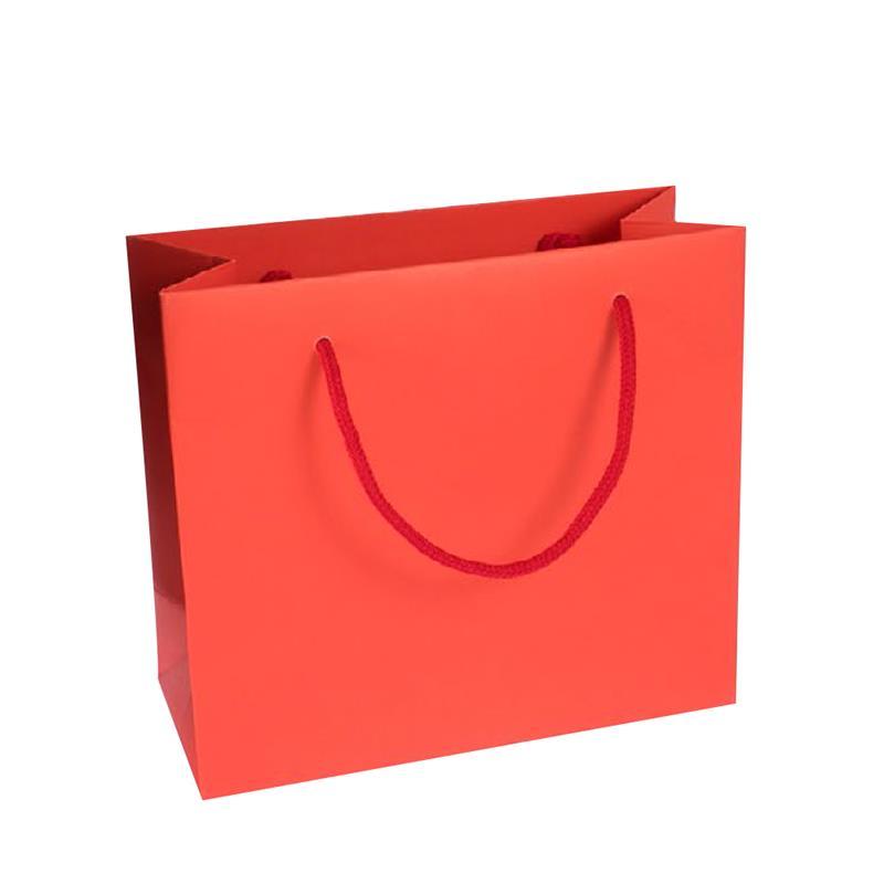 shopper in carta kraft stampa rosso manico cotone in tinta