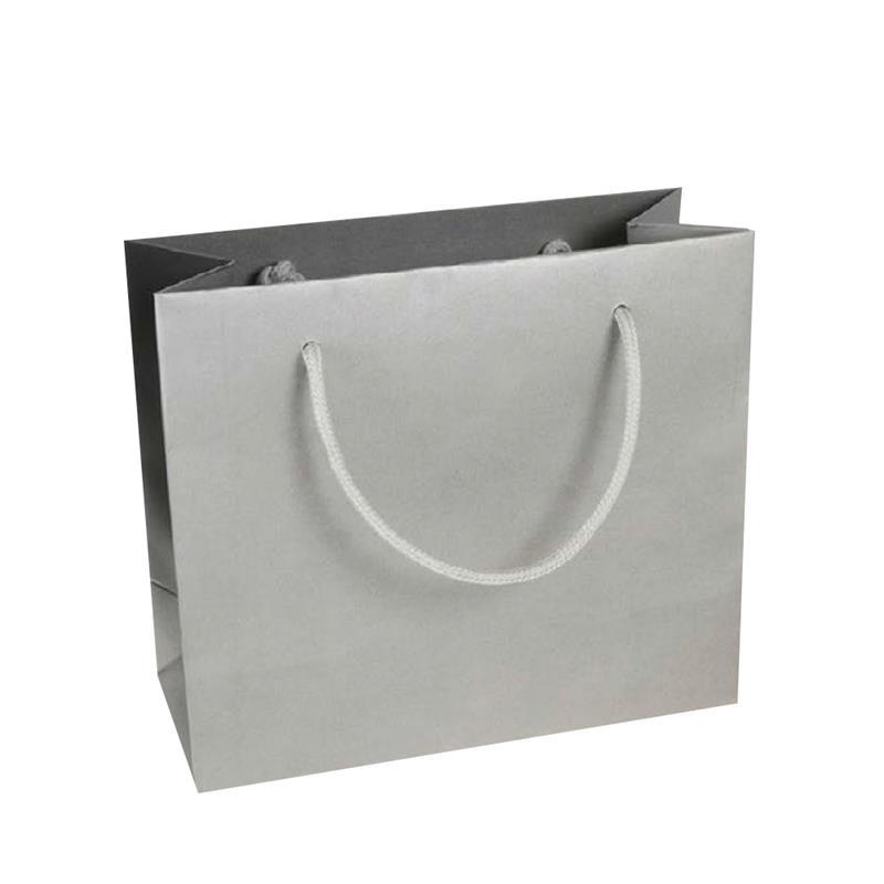 shopper in carta kraft stampa argento manico cotone in tinta