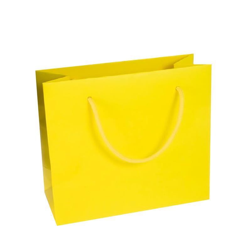 shopper in carta kraft stampa giallo manico cotone in tinta