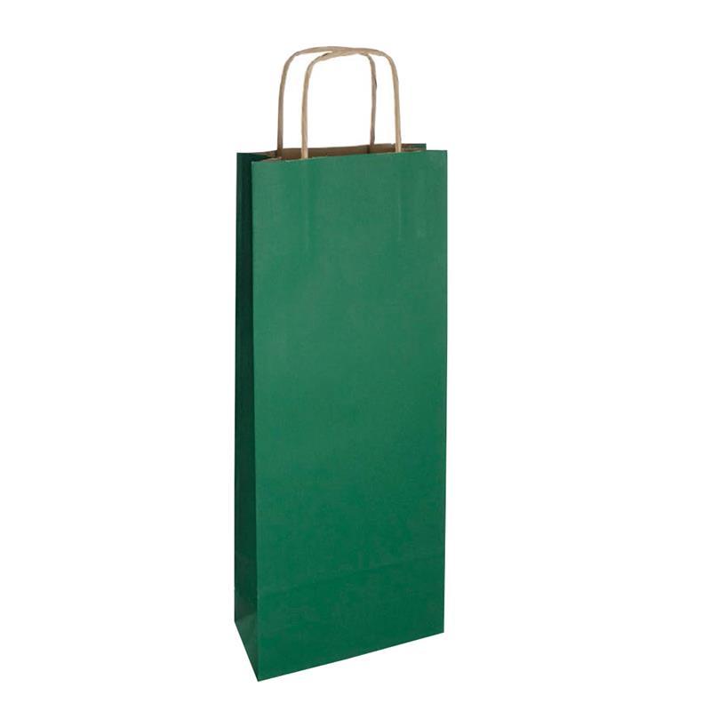 shopper vino in carta riciclata avana verde manico cordino avana