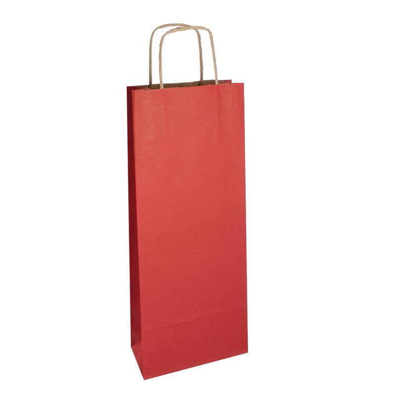 shopper vino in carta riciclata avana rosso manico cordino avana