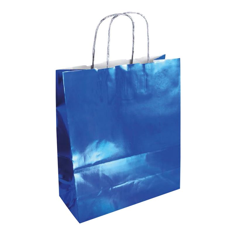 shopper in carta accoppiata cromata blu manici in carta ritorta