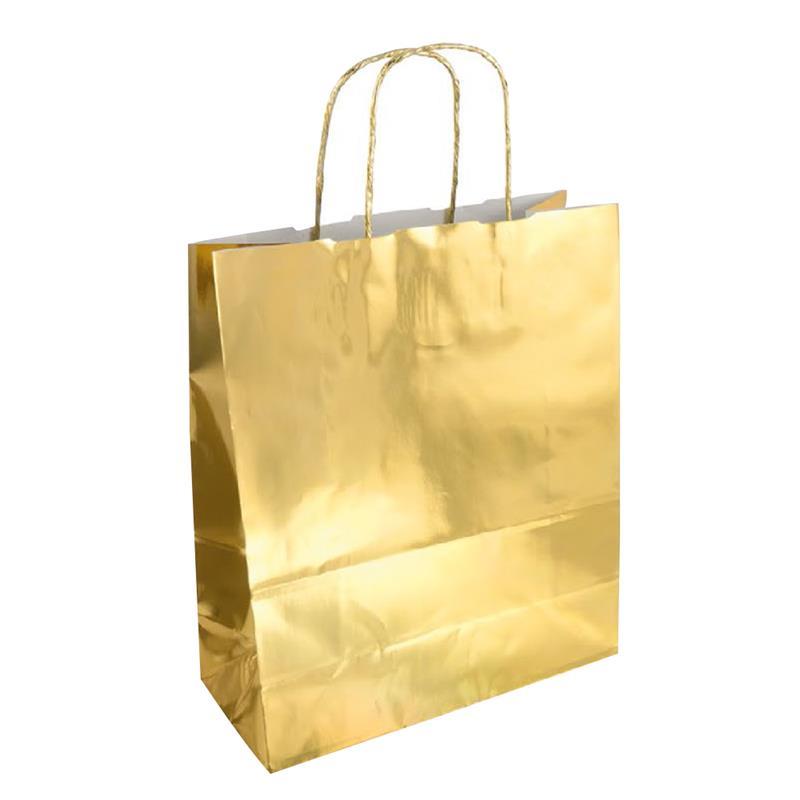 shopper in carta accoppiata cromata gold manici in carta ritorta