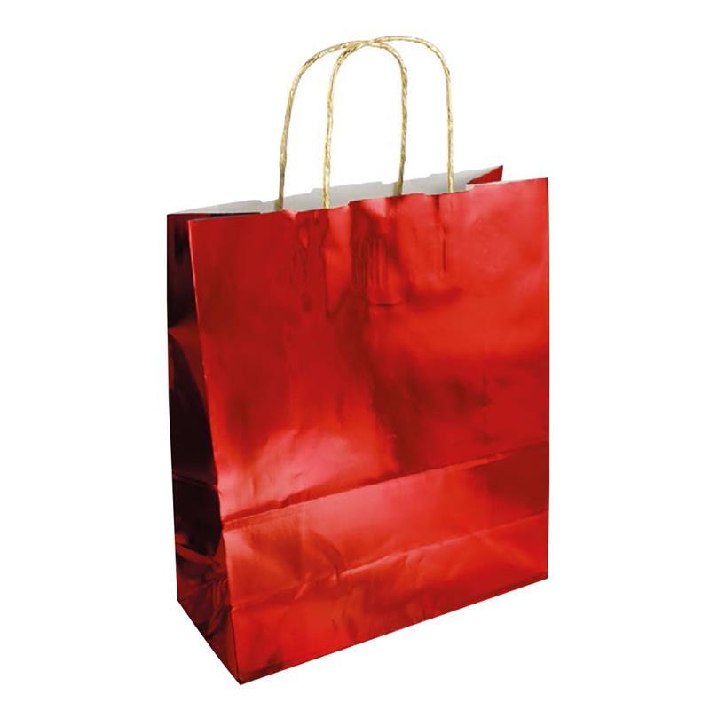 shopper in carta accoppiata cromata rosso manici in carta ritorta