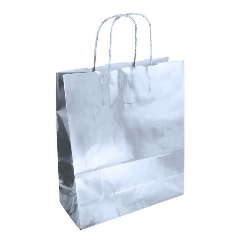 shopper in carta accoppiata cromata silver manici in carta ritorta