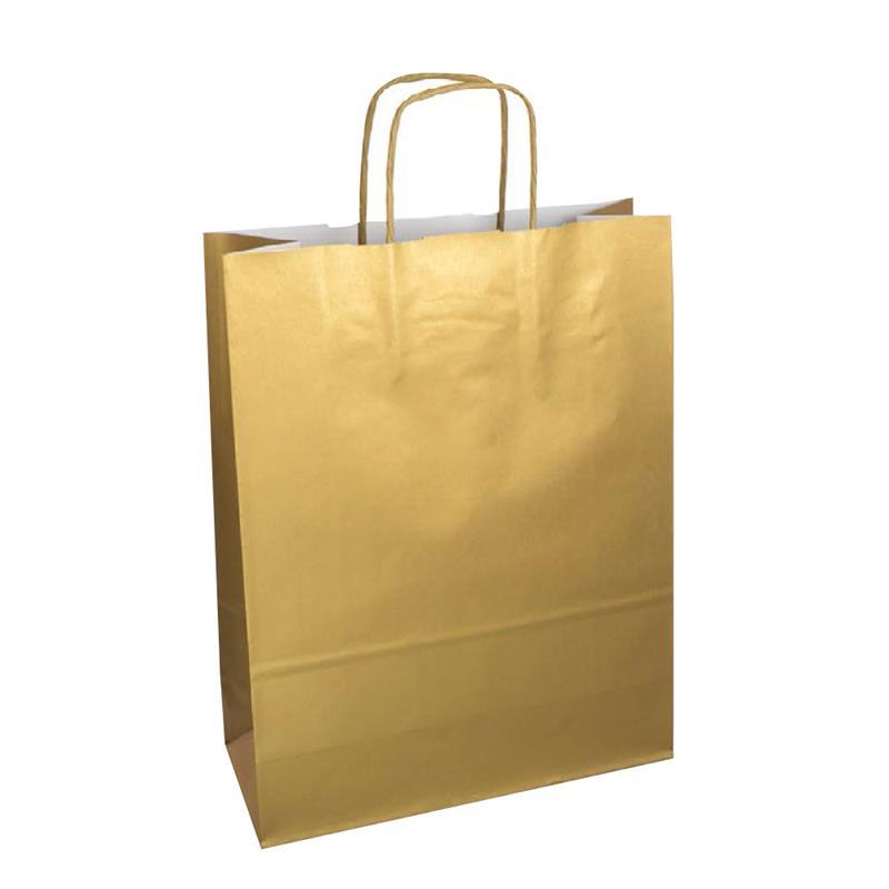 shopper in carta kraft con stampa oro metal manico cordino in tinta