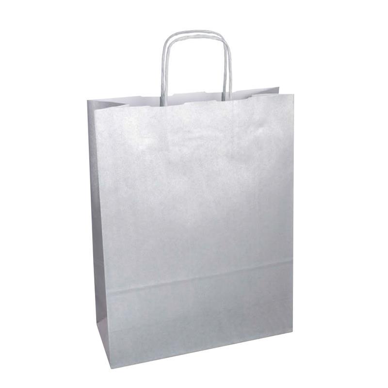 shopper in carta kraft con stampa silver metal manico cordino in tinta