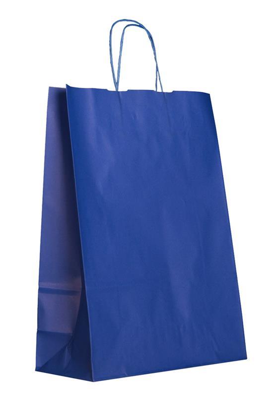 shopper in carta kraft blu elettrico manico cordino