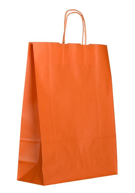 shopper in carta kraft arancio manico cordino