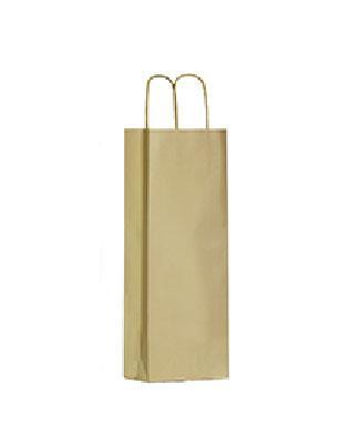 shopper in carta patinata oro trattamento ecodry manico cordino