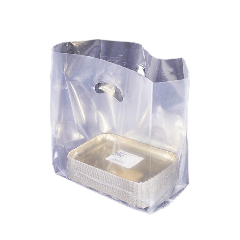 shopper trasparente in plastica manico fagiolo